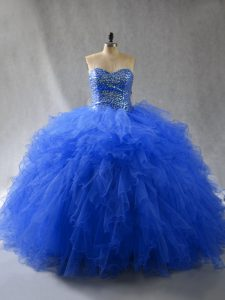 Royal Blue Tulle Lace Up 15 Quinceanera Dress Sleeveless Floor Length Beading and Ruffles