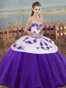 Fantastic Sleeveless Lace Up Floor Length Embroidery and Bowknot 15th Birthday Dress