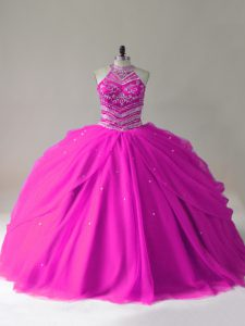 Fashionable Beading Sweet 16 Dress Fuchsia Lace Up Sleeveless