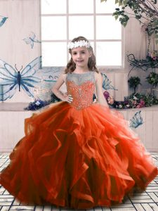 Tulle Scoop Sleeveless Lace Up Beading Kids Pageant Dress in Rust Red