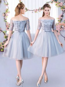 Empire Vestidos de Damas Grey Off The Shoulder Tulle Short Sleeves Knee Length Lace Up