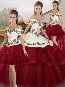 Classical Wine Red Ball Gowns Tulle Off The Shoulder Sleeveless Embroidery and Ruffled Layers Lace Up Vestidos de Quinceanera Brush Train
