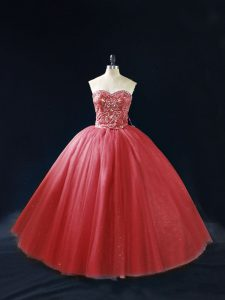 Custom Fit Ball Gowns 15 Quinceanera Dress Red Sweetheart Tulle Sleeveless Lace Up