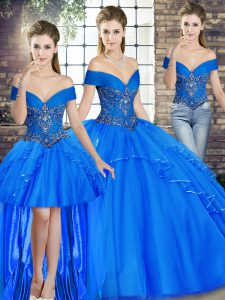 Beauteous Off The Shoulder Sleeveless Tulle Sweet 16 Quinceanera Dress Beading and Ruffles Lace Up