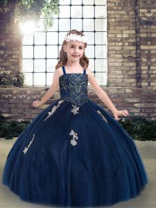 Graceful Straps Sleeveless Lace Up Kids Pageant Dress Navy Blue Tulle