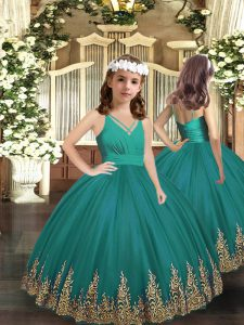 Perfect Embroidery Kids Formal Wear Turquoise Zipper Sleeveless Floor Length