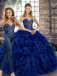 Two Pieces Quinceanera Dress Royal Blue Sweetheart Organza Sleeveless Floor Length Lace Up