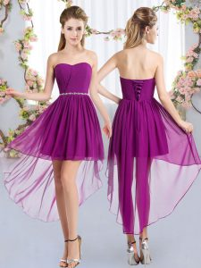 High Low Empire Sleeveless Purple Quinceanera Court of Honor Dress Lace Up