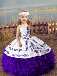 High Quality Sleeveless Lace Up Floor Length Embroidery and Ruffles High School Pageant Dress
