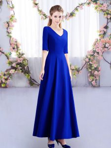 Chic Royal Blue V-neck Zipper Ruching Dama Dress for Quinceanera Half Sleeves