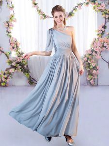 Charming Floor Length Lace Up Dama Dress Grey for Wedding Party with Belt
