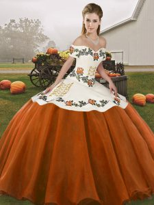 Adorable Off The Shoulder Sleeveless Lace Up Quinceanera Gown Rust Red Organza