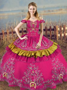 Fuchsia Ball Gowns Off The Shoulder Sleeveless Organza Floor Length Lace Up Embroidery Quince Ball Gowns