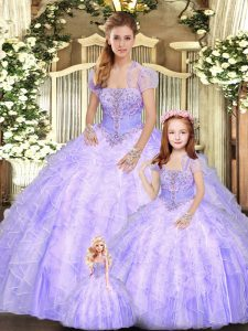 Strapless Sleeveless Lace Up 15th Birthday Dress Lavender Tulle