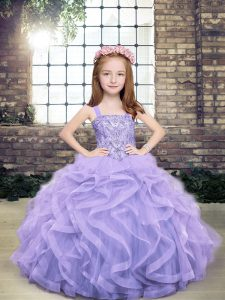 Fashion Ball Gowns Kids Formal Wear Lavender Straps Tulle Sleeveless Floor Length Lace Up