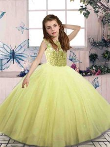 Yellow Green Ball Gowns Beading Girls Pageant Dresses Lace Up Tulle Sleeveless Floor Length