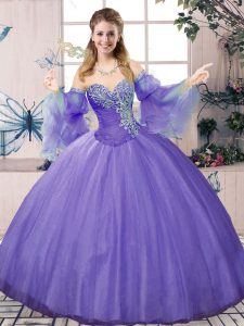 High Quality Sleeveless Tulle Floor Length Lace Up 15th Birthday Dress in Lavender with Beading