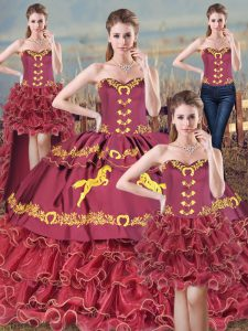 Fancy Sleeveless Organza Brush Train Lace Up 15 Quinceanera Dress in Burgundy with Embroidery