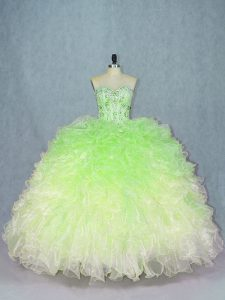 Multi-color Sleeveless Beading and Ruffles Floor Length Quince Ball Gowns