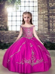 Perfect Floor Length Fuchsia Custom Made Pageant Dress Tulle Sleeveless Beading and Appliques