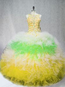 Exquisite Multi-color Sleeveless Beading and Ruffles Floor Length Ball Gown Prom Dress
