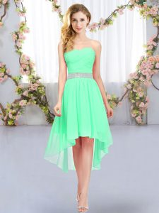 Custom Made Green Empire Belt Court Dresses for Sweet 16 Lace Up Chiffon Sleeveless High Low