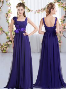 Pretty Straps Sleeveless Zipper Damas Dress Purple Chiffon