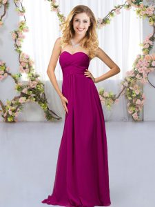 Sophisticated Fuchsia Chiffon Criss Cross Sweetheart Sleeveless Floor Length Quinceanera Court Dresses Beading