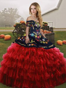 Inexpensive Floor Length Red And Black Quinceanera Gowns Off The Shoulder Sleeveless Lace Up