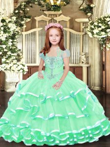 Apple Green Ball Gowns Beading and Ruffled Layers Pageant Dresses Lace Up Tulle Sleeveless Floor Length