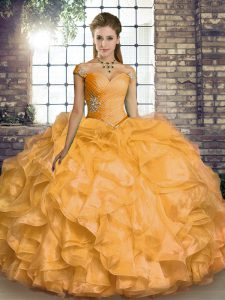 Glorious Gold Lace Up Quinceanera Dresses Beading and Ruffles Sleeveless Floor Length