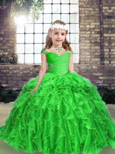 Cheap Green Straps Neckline Beading and Ruffles Pageant Dress Wholesale Sleeveless Lace Up