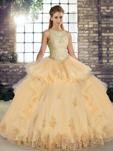 Glorious Tulle Scoop Sleeveless Lace Up Lace and Embroidery and Ruffles Quince Ball Gowns in Champagne