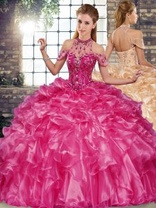 Lovely Ball Gowns Sweet 16 Dress Fuchsia Halter Top Organza Sleeveless Floor Length Lace Up