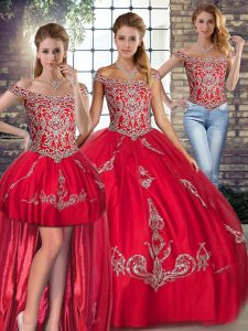 Red Lace Up Sweet 16 Dresses Beading and Embroidery Sleeveless Floor Length