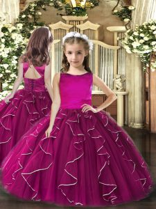 Fuchsia Scoop Lace Up Ruffles Glitz Pageant Dress Sleeveless