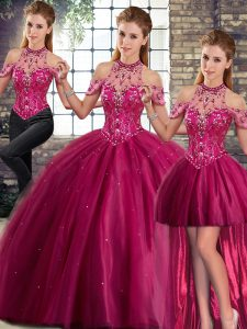 Tulle Sleeveless 15th Birthday Dress Brush Train and Beading
