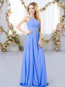 Lavender Sleeveless Floor Length Beading Zipper Court Dresses for Sweet 16