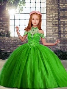 Beading Pageant Dress Green Lace Up Sleeveless Floor Length