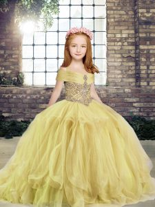 Ball Gowns Little Girls Pageant Dress Wholesale Yellow Off The Shoulder Tulle Sleeveless Floor Length Lace Up