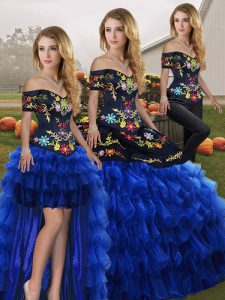 Beauteous Organza Sleeveless Floor Length Vestidos de Quinceanera and Embroidery and Ruffled Layers