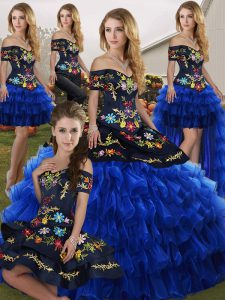 Ideal Blue And Black Ball Gowns Embroidery and Ruffled Layers Sweet 16 Dress Lace Up Organza Sleeveless Floor Length