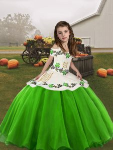 Excellent Green Ball Gowns Straps Sleeveless Organza Floor Length Lace Up Embroidery Little Girls Pageant Dress