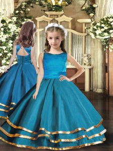 Admirable Sleeveless Organza Floor Length Lace Up Little Girl Pageant Gowns in Teal with Ruffled Layers