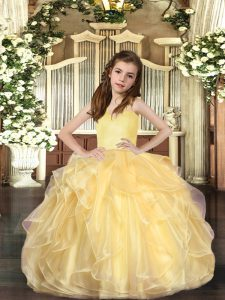 Wonderful Gold Ball Gowns Ruffles Kids Pageant Dress Lace Up Organza Sleeveless Floor Length