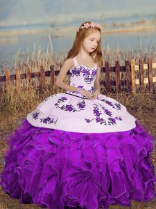 Organza Straps Sleeveless Lace Up Embroidery Little Girl Pageant Gowns in Purple