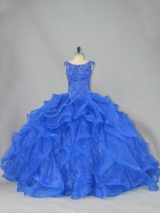 Scoop Sleeveless Juniors Party Dress Brush Train Beading and Ruffles Royal Blue Organza