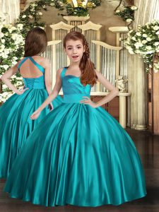 Teal Sleeveless Ruching Floor Length Little Girl Pageant Gowns