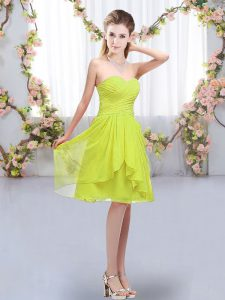 Yellow Green Empire Sweetheart Sleeveless Chiffon Knee Length Lace Up Ruffles and Ruching Dama Dress for Quinceanera