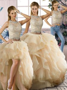 Floor Length Three Pieces Sleeveless Champagne Sweet 16 Dresses Zipper